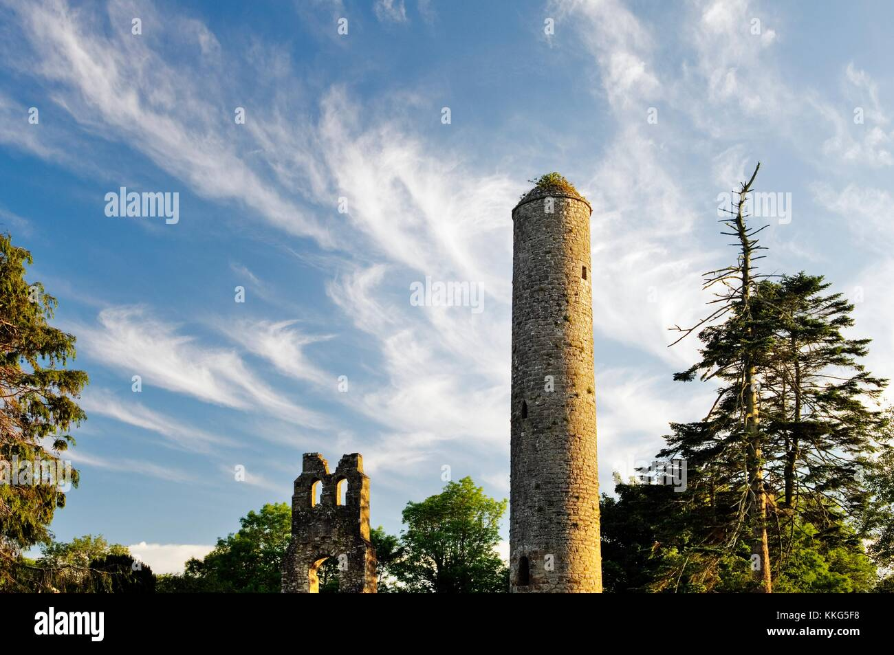 Donaghmore Celtic Christian 100 foot round tower at mediaeval church site associated with St. Cassanus, County Meath, - Stock Image