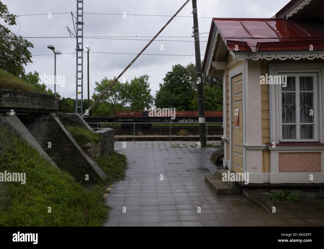 Railway station with bunker in the former closed town of Paldiski, Estonia - near the site of a Russian Nuclear - Stock Image