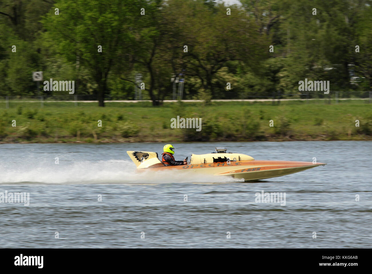 Race Boat F222, Opechee. 2017 APBA, American Power Boat Association, Test and Tune day at Eastwood Lake, Dayton, - Stock Image