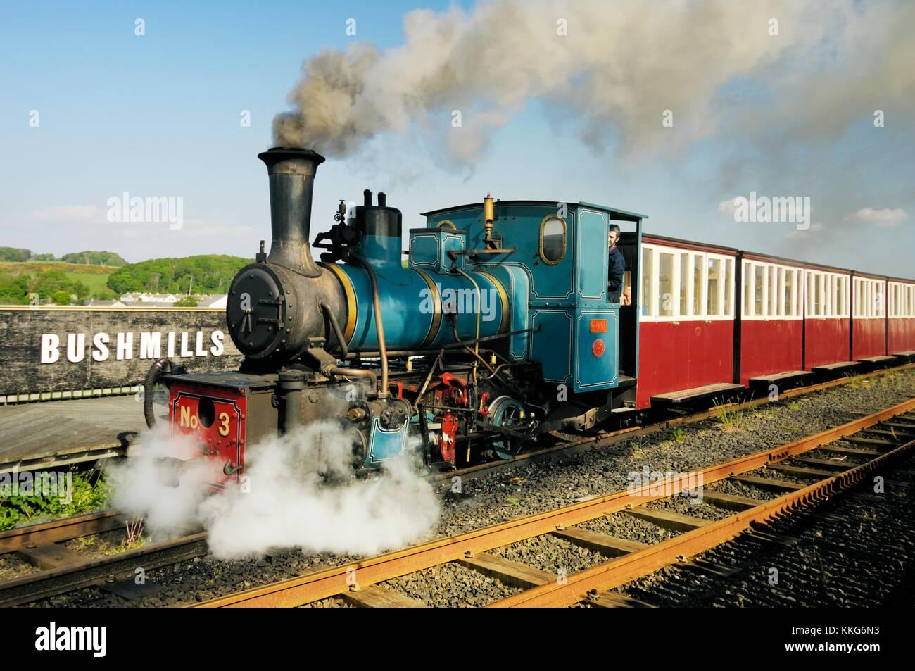 Giants Causeway and Bushmills Railway narrow gauge steam train engine at the Bushmills platform, County Antrim, - Stock Image