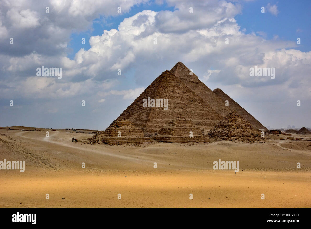 The six pyramids of the Giza Pyramid Complex, Giza Plateau, Egypt. - Stock Image