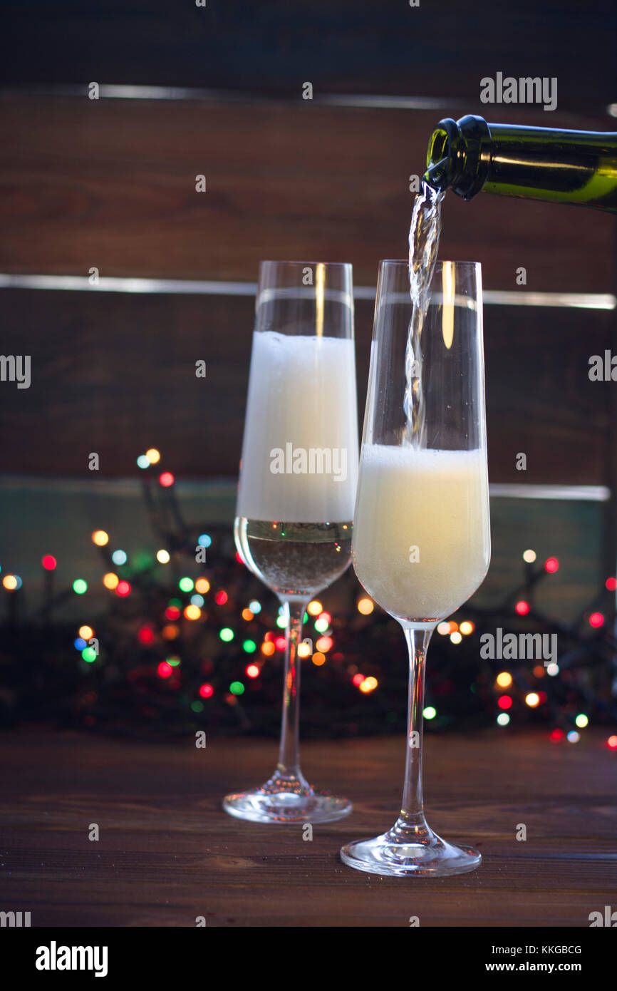 Still life with two champagne glasses - Stock Image