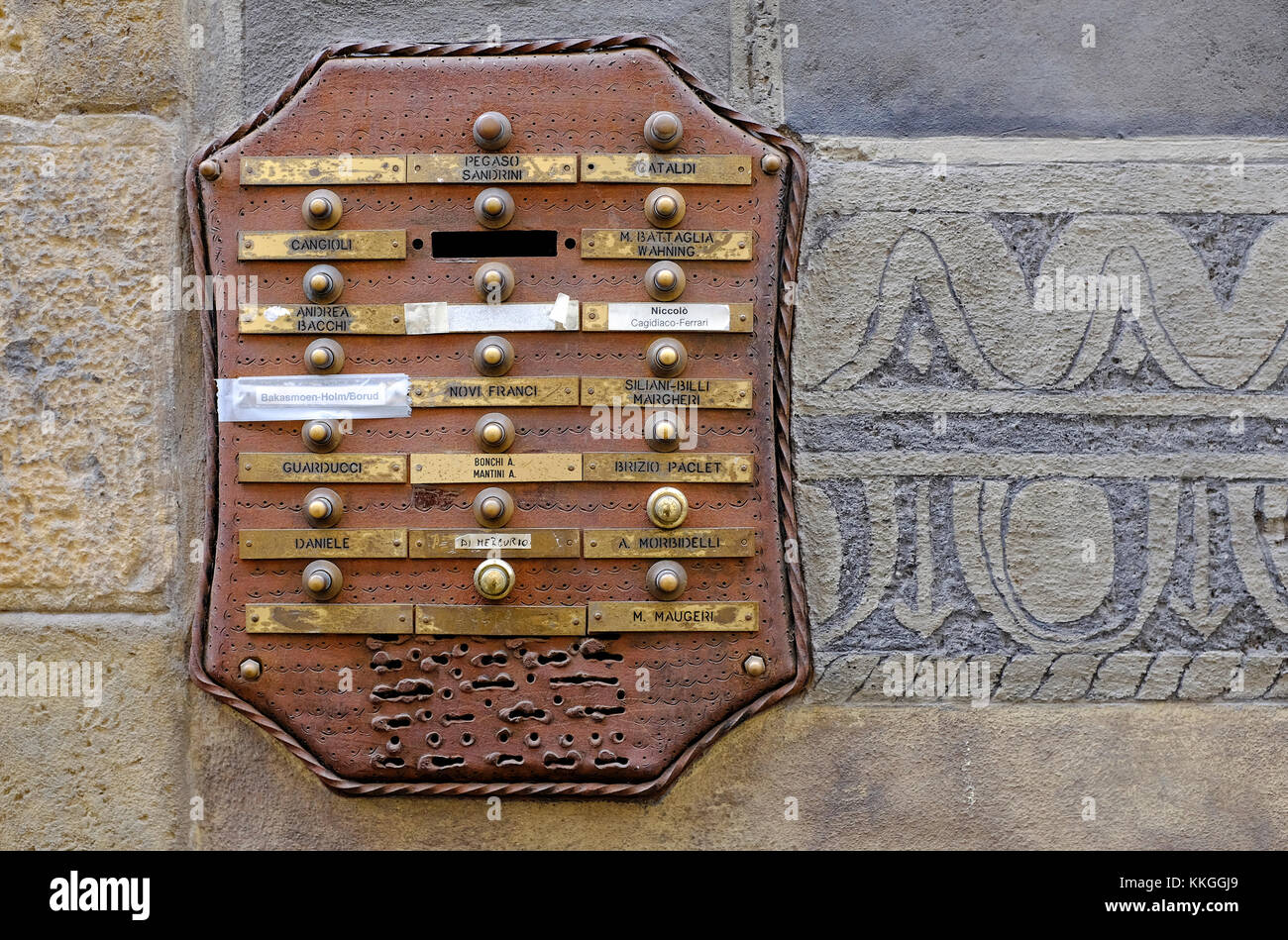 old entrance buzzer system on apartment building wall, florence, italy - Stock Image