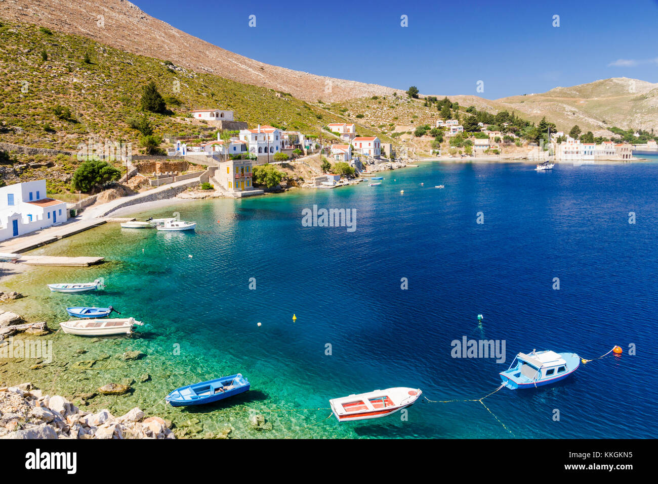 Looking towards the small peaceful village of Emporios on Symi Island, Dodecanese, Greece - Stock Image