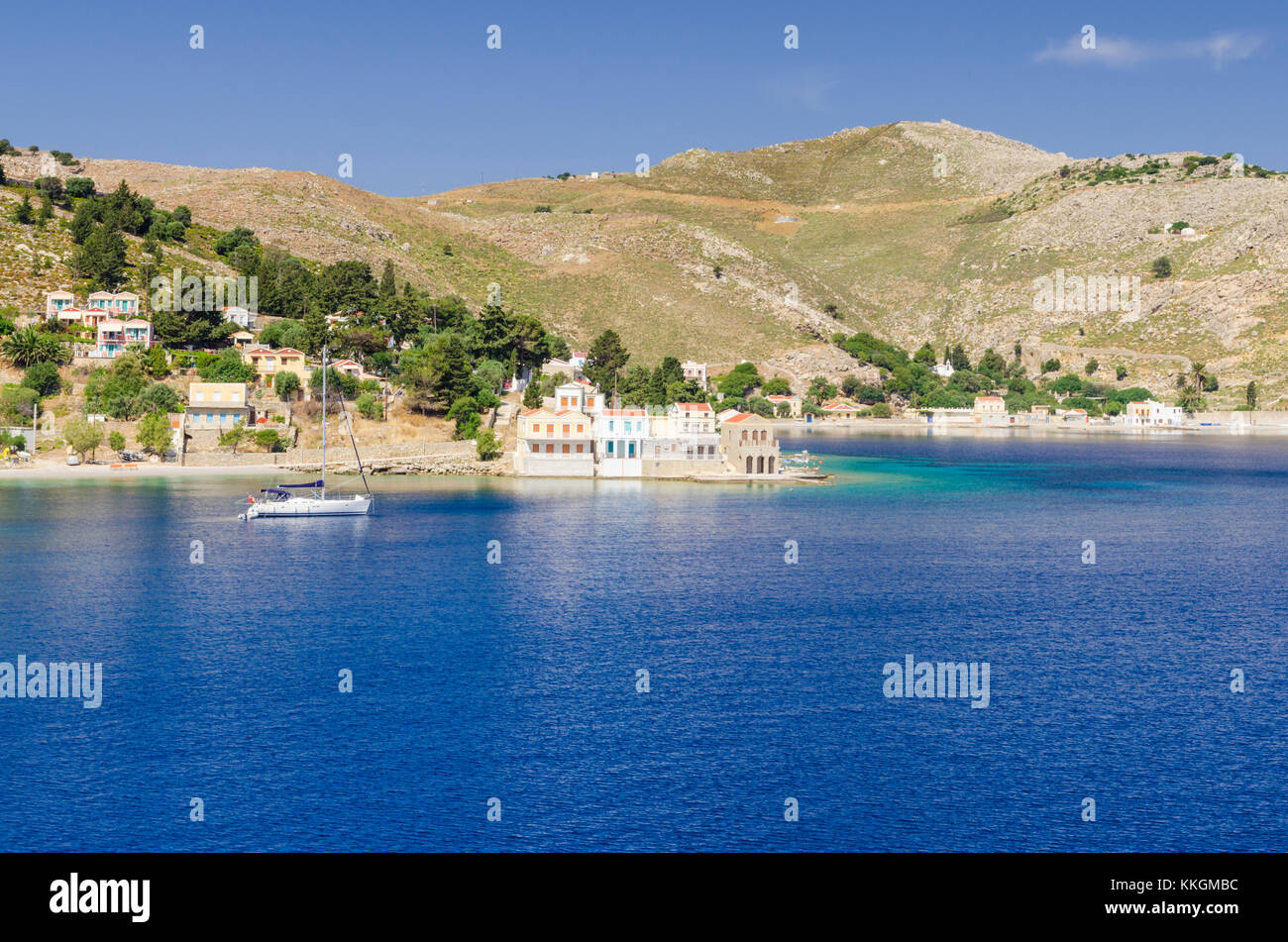 Looking towards the small village of Emporios on Symi Island, Dodecanese, Greece - Stock Image