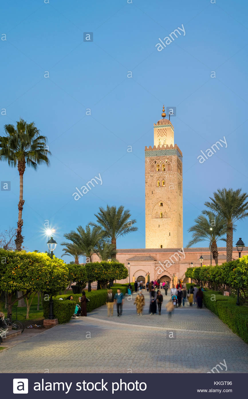 Morocco, Marrakech-Safi (Marrakesh-Tensift-El Haouz) region, Marrakesh. 12th century Koutoubia Mosque and Parc Lalla - Stock Image