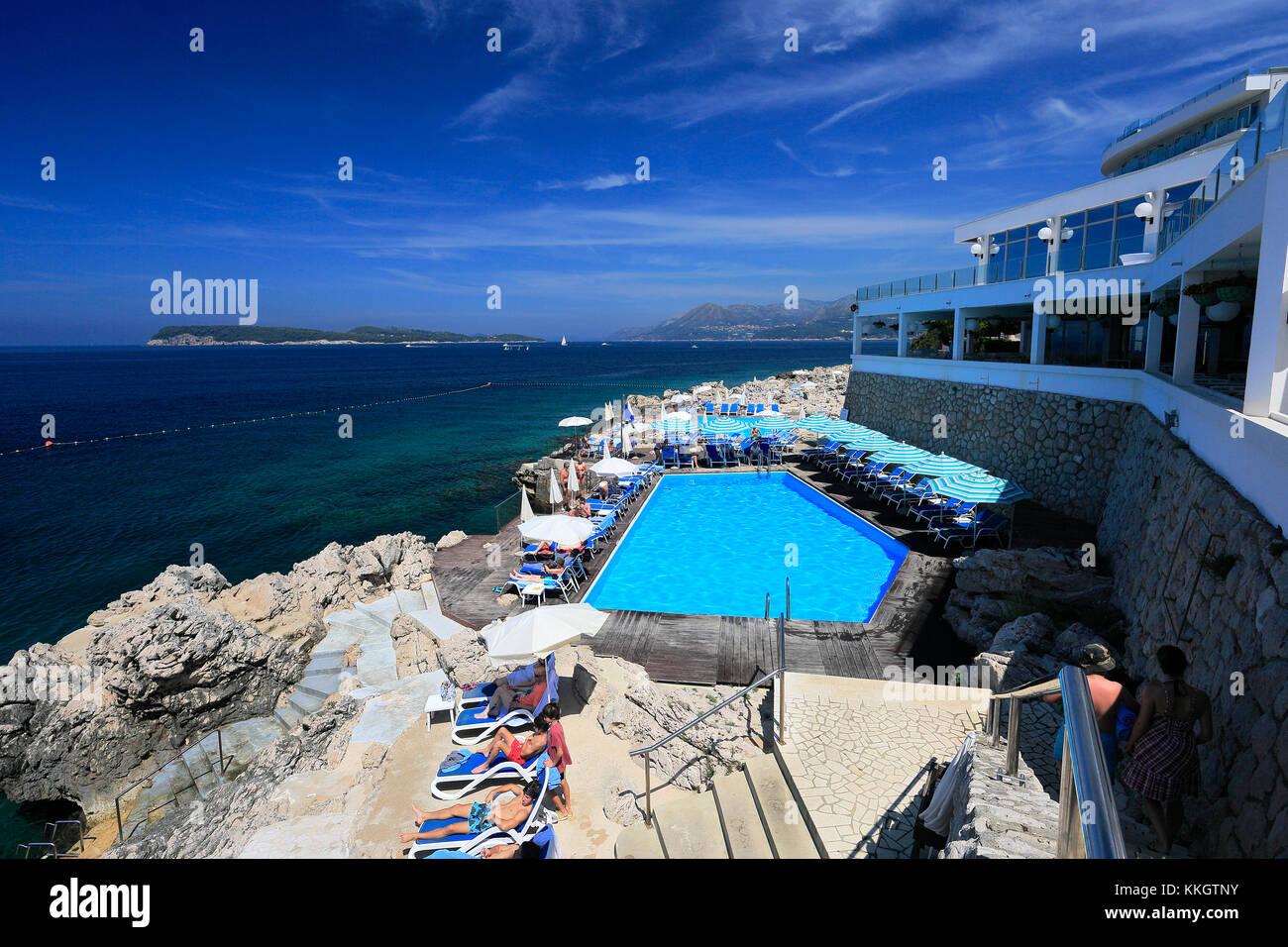 The Ariston Hotel, Lapad town, Dubrovnik, Dalmatian coast, Adriatic Sea, Croatia, Europe. Stock Photo
