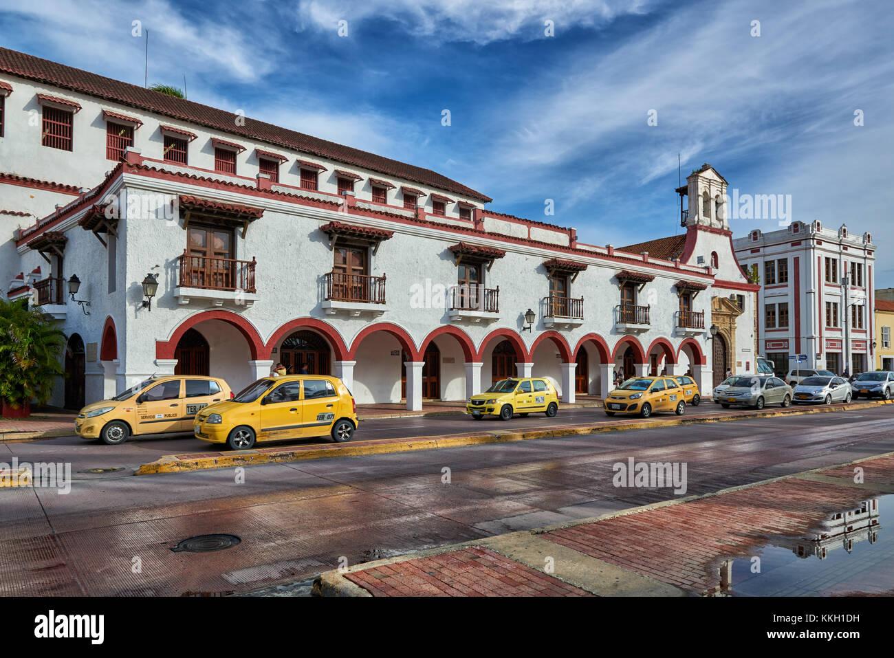 colonial building of Teatro Colon, Cartagena de Indias, Colombia, South America - Stock Image