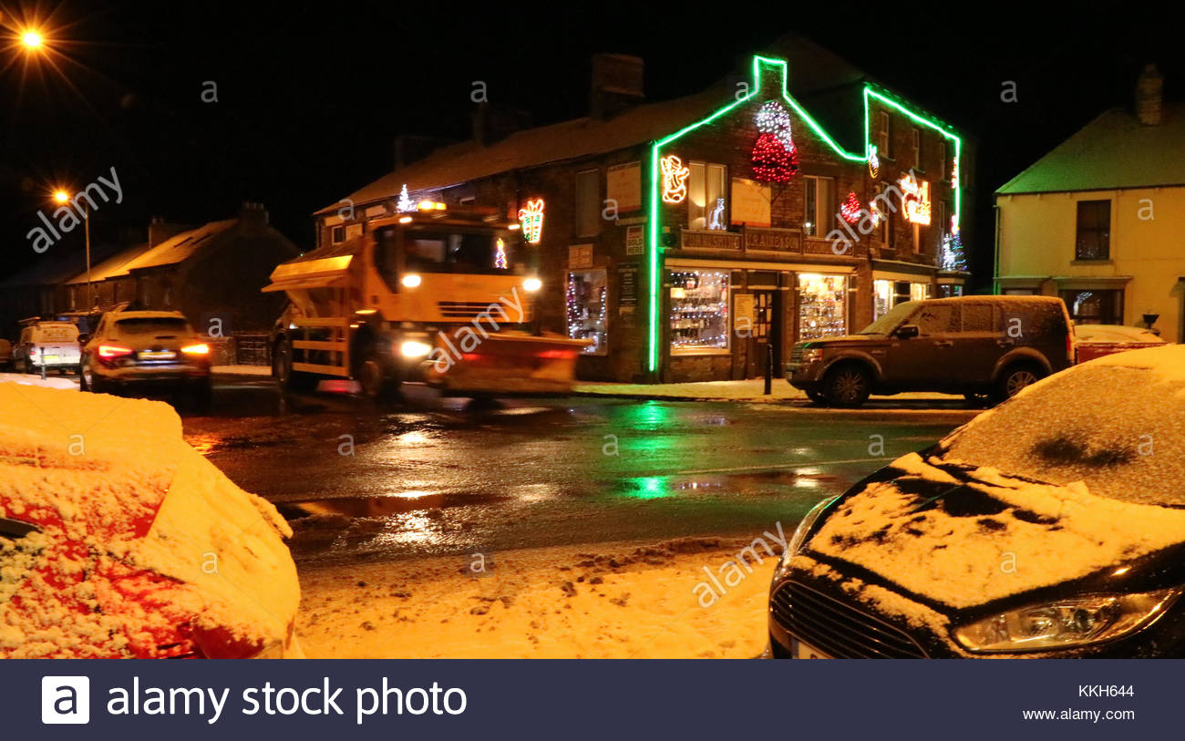 Middleton-in-Teesdale, Co Durham, UK 30th November 2017 Snow in Middleton-in-Teesdale adds to the seasonal scene - Stock Image