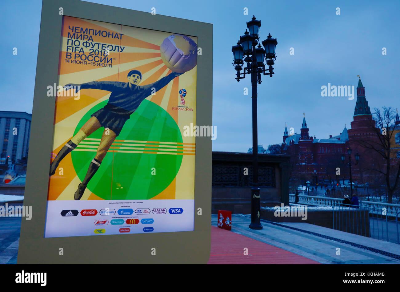 Moskau, Russland. 29th Nov, 2017. Der Kreml with WM 2018 Logos und Plakaten. Feature/Schmuckbild/Hintergrund/Hintergrundbild. Fussball: Auslosung zur FIFA- Fussball Weltmeisterschaft 2018 in Moskau, Russland 01.12.2017 - Football, Draw for the FIFA- World Cup 2018, Moscow, December 01, 2017 |usage worldwide Credit: dpa/Alamy Live News Stock Photo