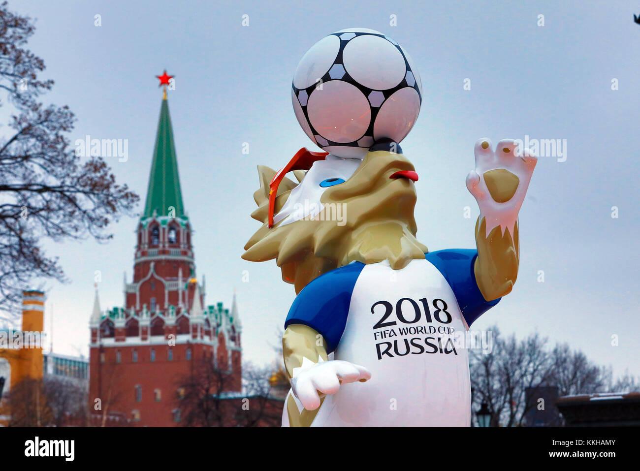 Moskau, Russland. 29th Nov, 2017. Der Kreml with dem Wolf Zabivaka, Maskottchen der Fussball- WM 2018. Feature/Schmuckbild/Hintergrund/Hintergrundbild. Fussball: Auslosung zur FIFA- Fussball Weltmeisterschaft 2018 in Moskau, Russland 01.12.2017 - Football, Draw for the FIFA- World Cup 2018, Moscow, December 01, 2017 |usage worldwide Credit: dpa/Alamy Live News Stock Photo