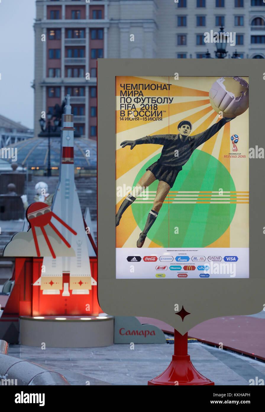 Moskau, Russland. 29th Nov, 2017. WM 2018 Logos und Plakate in Moskau. Feature/Schmuckbild/Hintergrund/Hintergrundbild. Fussball: Auslosung zur FIFA- Fussball Weltmeisterschaft 2018 in Moskau, Russland 01.12.2017 - Football, Draw for the FIFA- World Cup 2018, Moscow, December 01, 2017  usage worldwide Credit: dpa/Alamy Live News Stock Photo