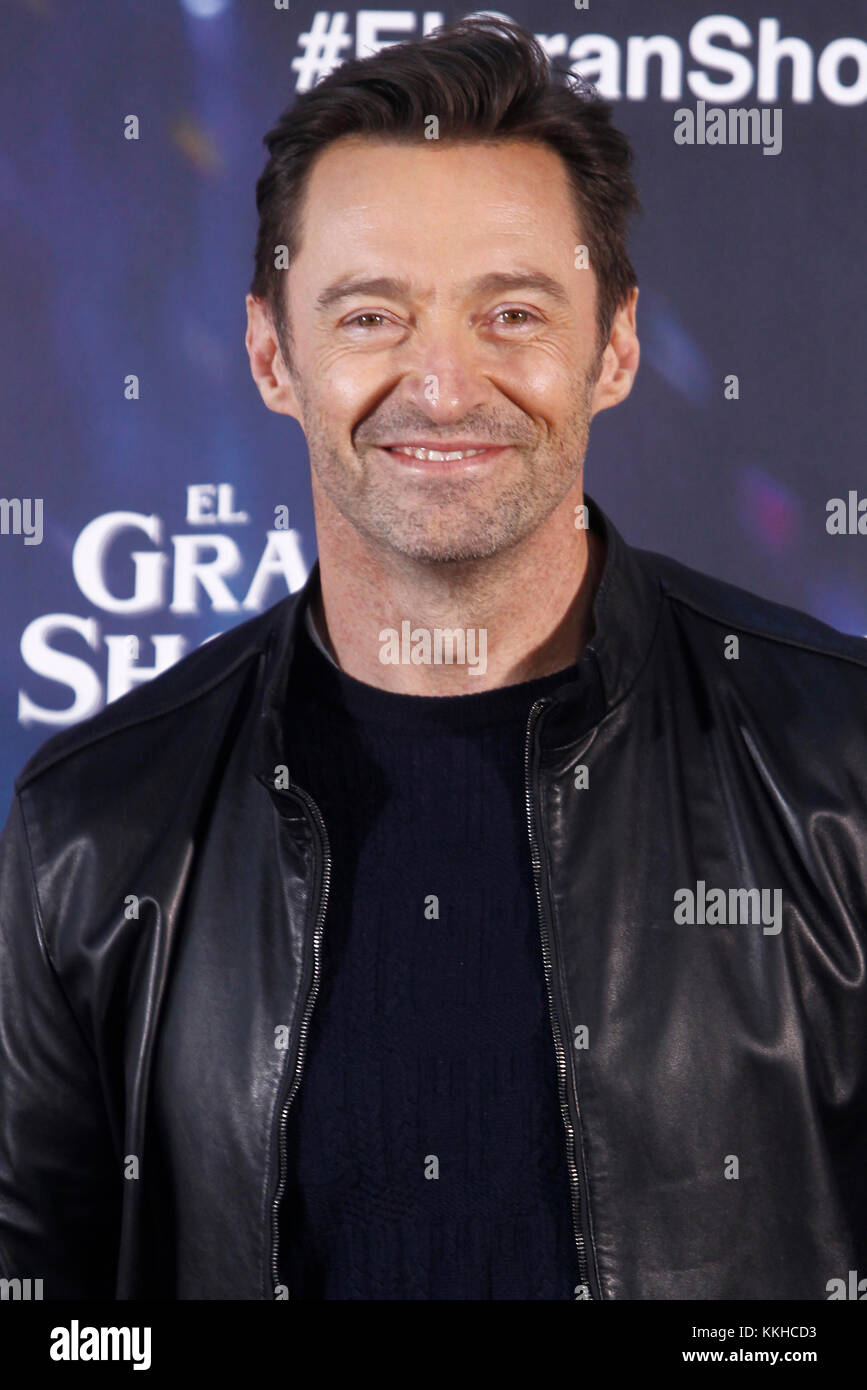 Madrid, Spain. 01st Dec, 2017. Hugh Jackman attends The Greatest Showman photocall at the Villamagna hotel in Madrid, - Stock Image