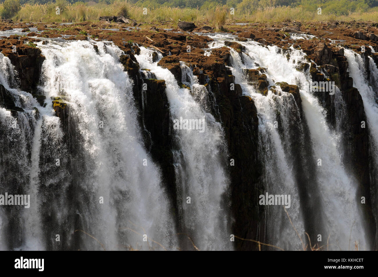 Kazungula, Zimbabwe. 30th July, 2015. The so-called 'main falls' area of the Victoria Falls, pictured on - Stock Image