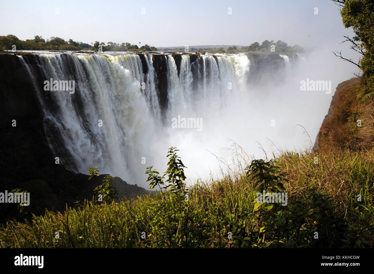 Victoria Falls, Zimbabwe. 30th July, 2015. The so-called 'main falls' at the Victoria Falls, pictured on - Stock Image