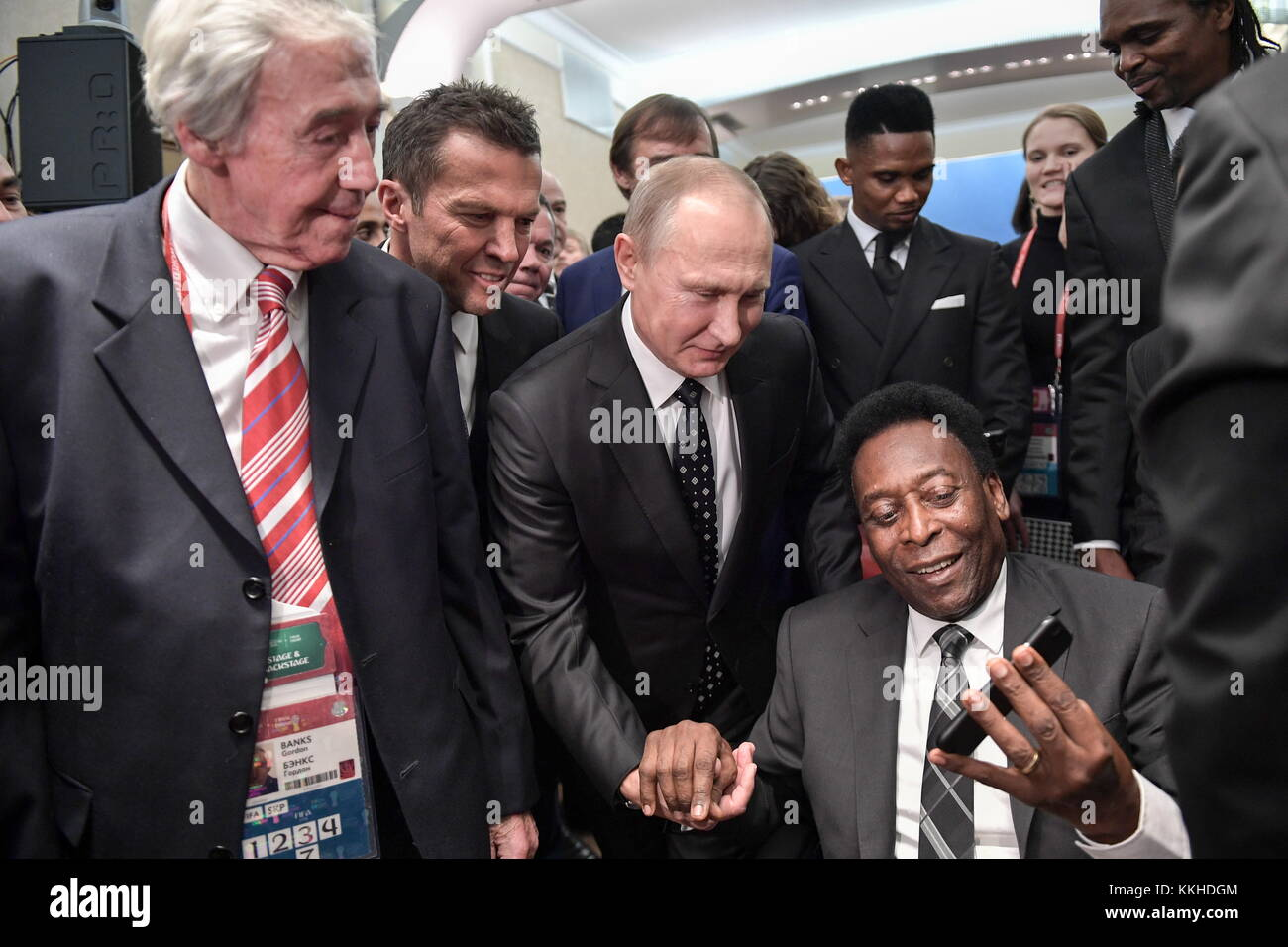 Moscow, Russia. 1st Dec, 2017. A draw assistant, English retired goalkeeper Gordon Banks, Russia's President - Stock Image