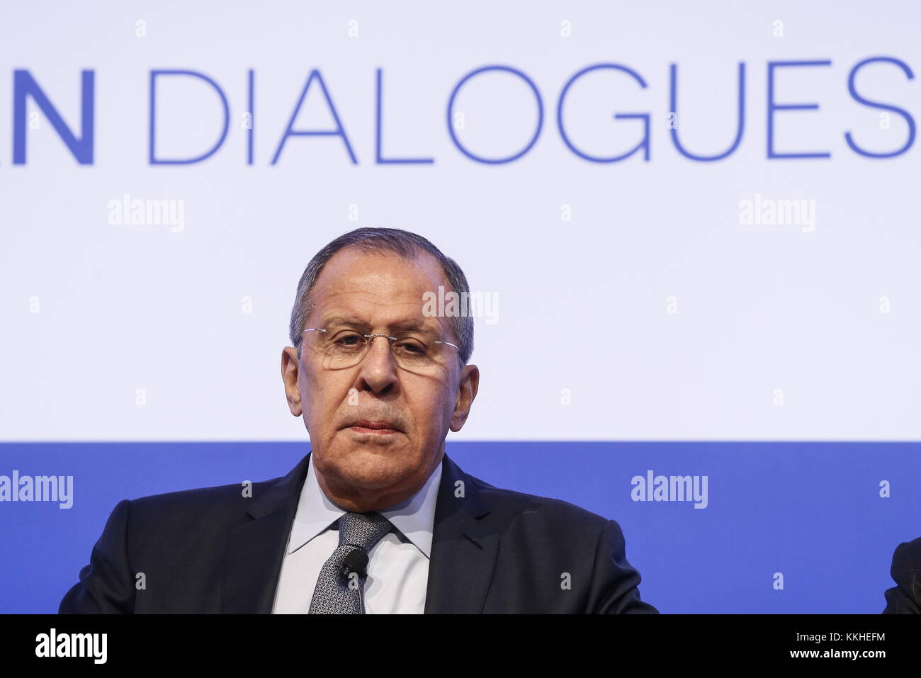 Rome, Italy. 1st Dec, 2017. Russia's minister of foreign affairs Sergei Lavrov at the Rome MED 2017 - Mediterranean - Stock Image