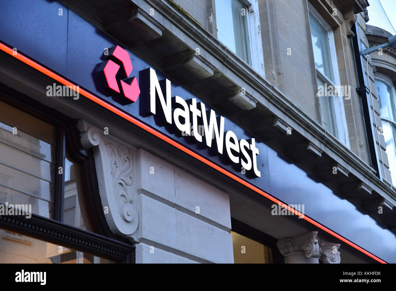 Weymouth, Dorset, UK.  1st December 2017.   NatWest bank sign and logo at the Weymouth Branch in Dorset.  This branch - Stock Image
