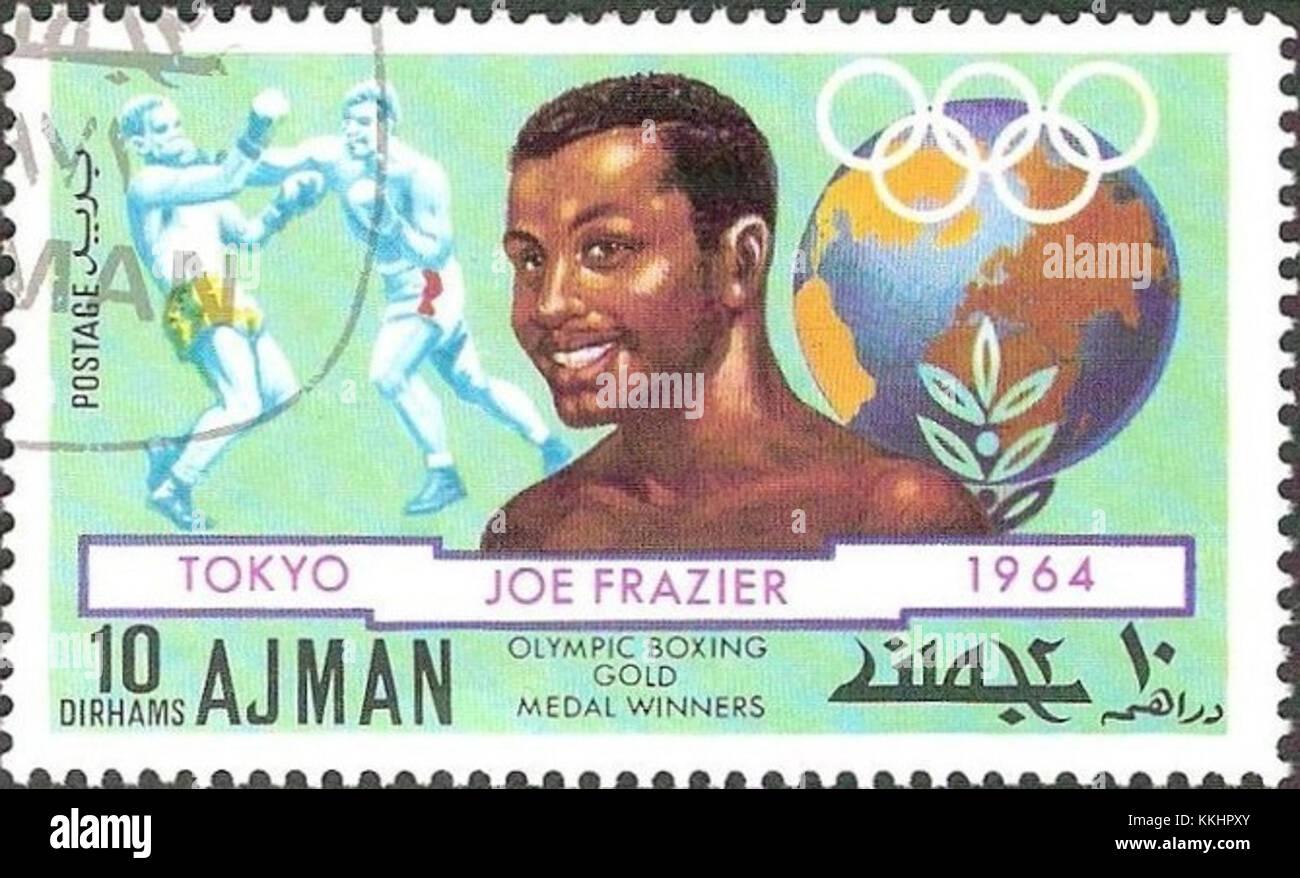 Joe Frazier 1971 Ajman stamp 2 - Stock Image