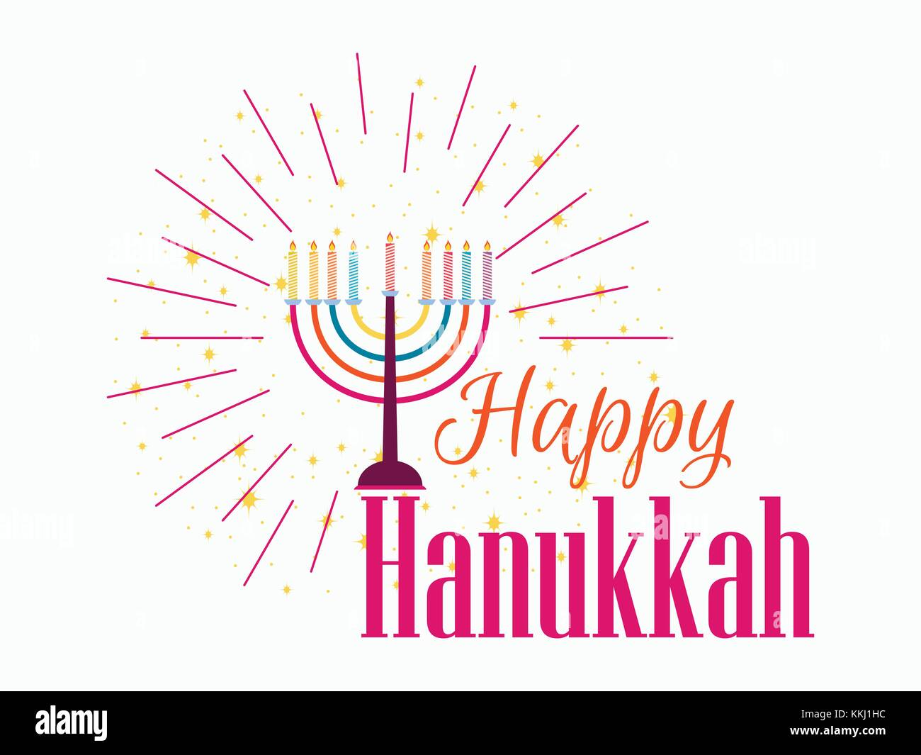 Happy Chanukah. Candlestick with nine candles of different colors. Vector illustration - Stock Image