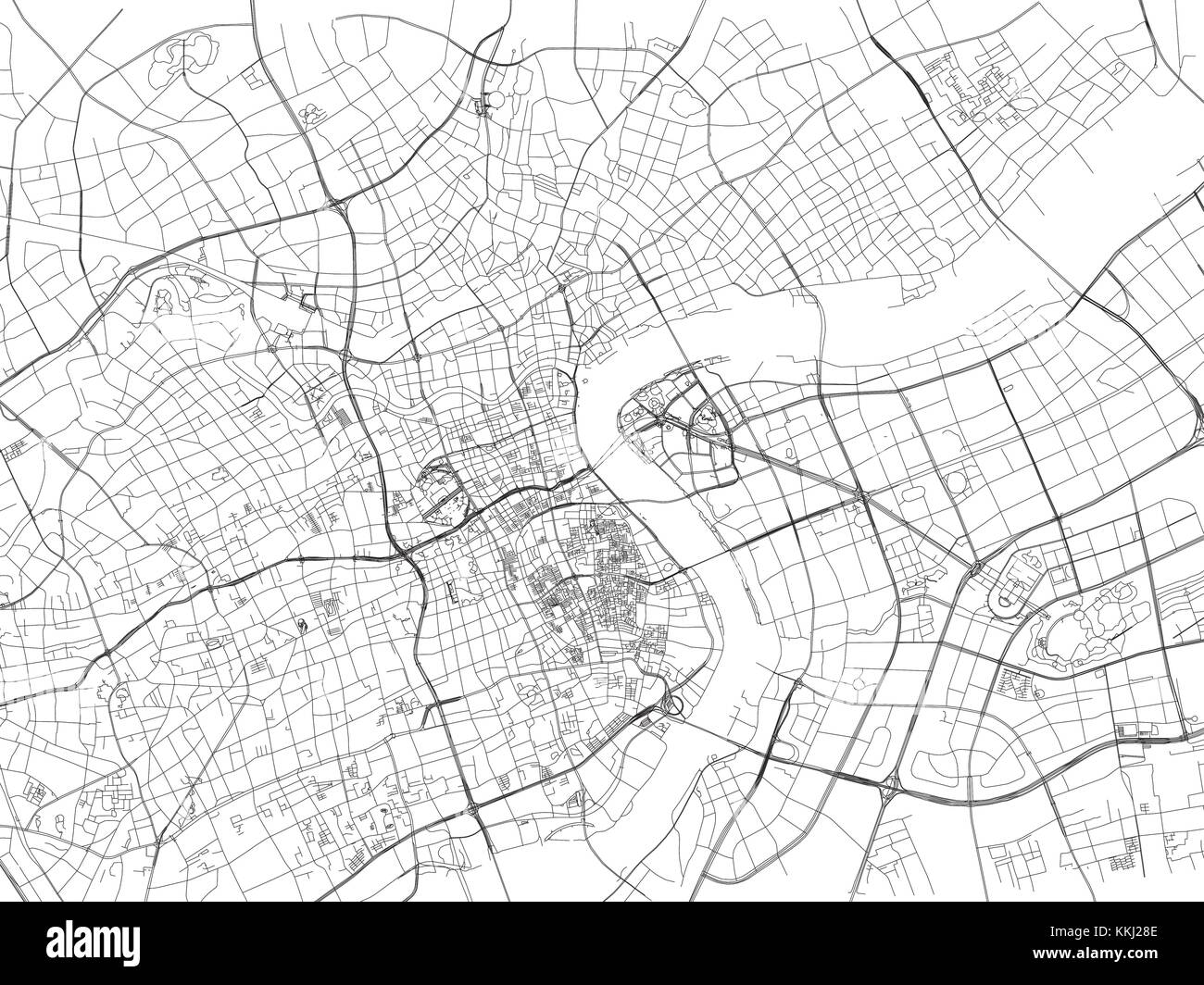 Image of: Shanghai Street City Map China Roads Stock Vector Image Art Alamy