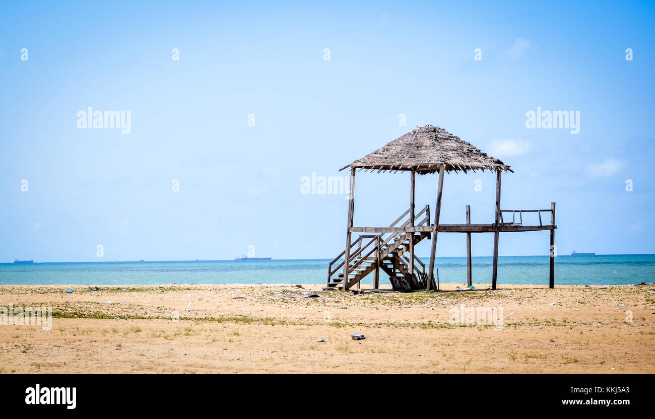 A Gazebo on a peaceful beach at Ilashe Lagos Nigeria, What will Peace look like Physically,  it will look clean, - Stock Image