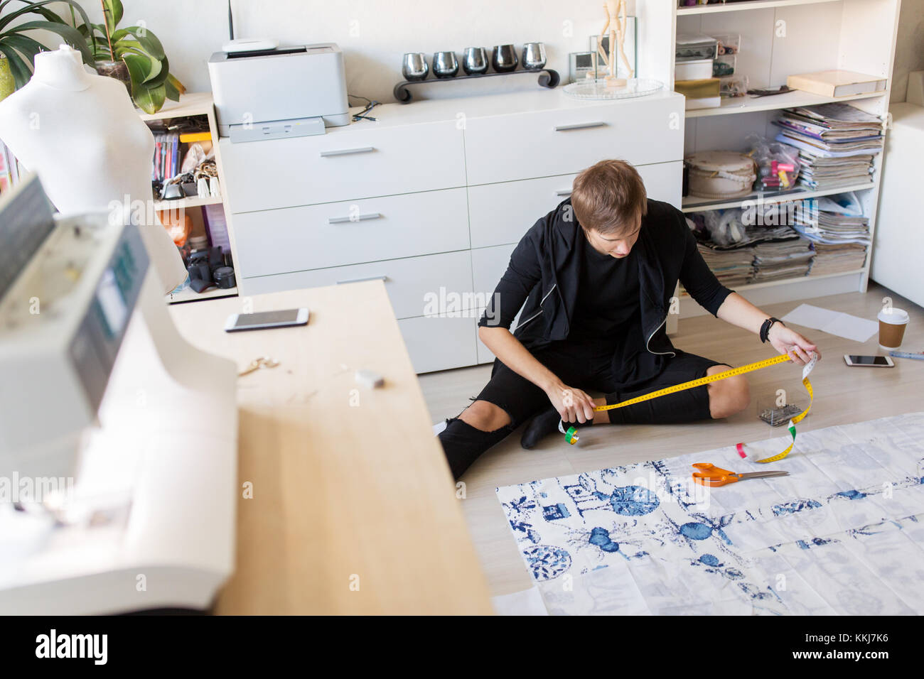Fashion Designer Making Dress At Sewing Studio Stock Photo Alamy