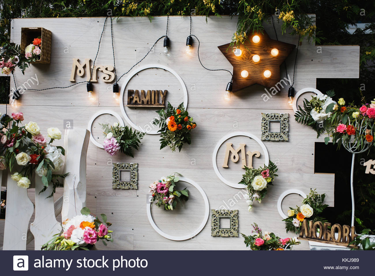 Beautiful unusual wedding decor. Rustic Style. Bench, wall of Stock ...