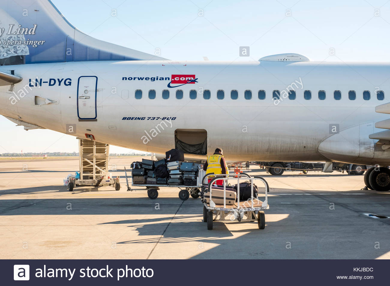 Morocco, Marrakech-Safi (Marrakesh-Tensift-El Haouz) region, Marrakesh. A baggage handler loading bags onto a commerical - Stock Image