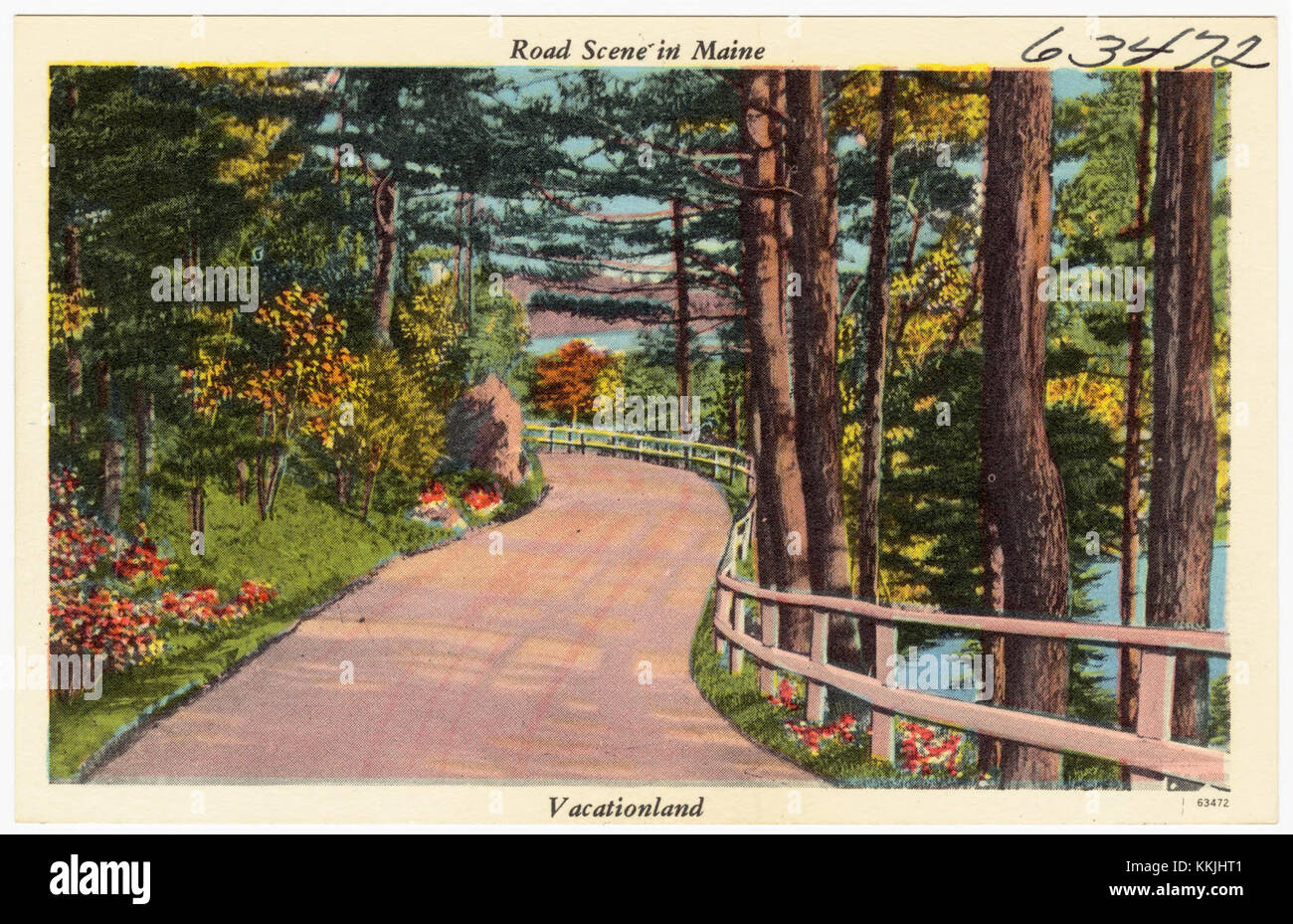 Road scene in Maine, Vacationland (63472) - Stock Image