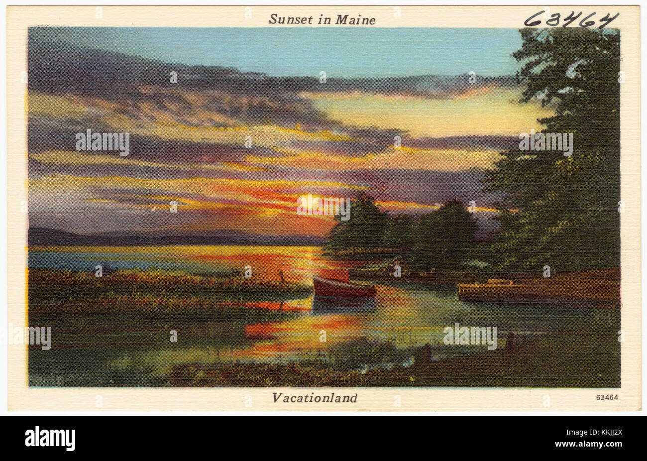 Sunset in Maine, Vacationland (63464) - Stock Image