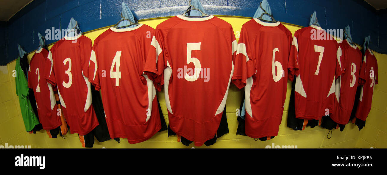 Harrogate Railway shirts hand in the changing rooms before kick-off. Laid out by the kitman before the players arrive - Stock Image