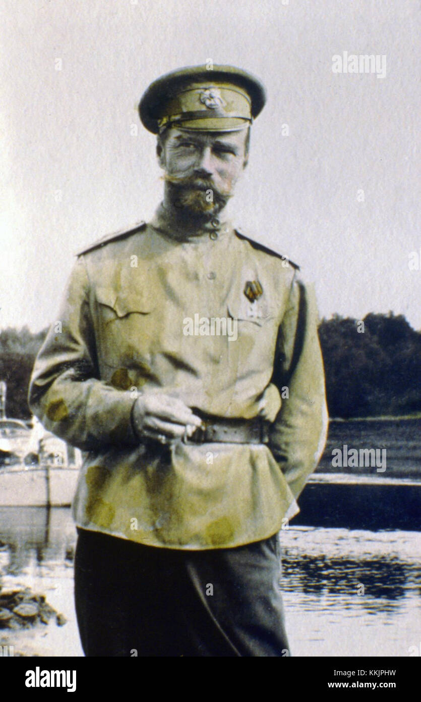 1915:  Tsar Nicholas II. The series of the unique pictures were taken by the Tsar Nicholas II himself or people - Stock Image