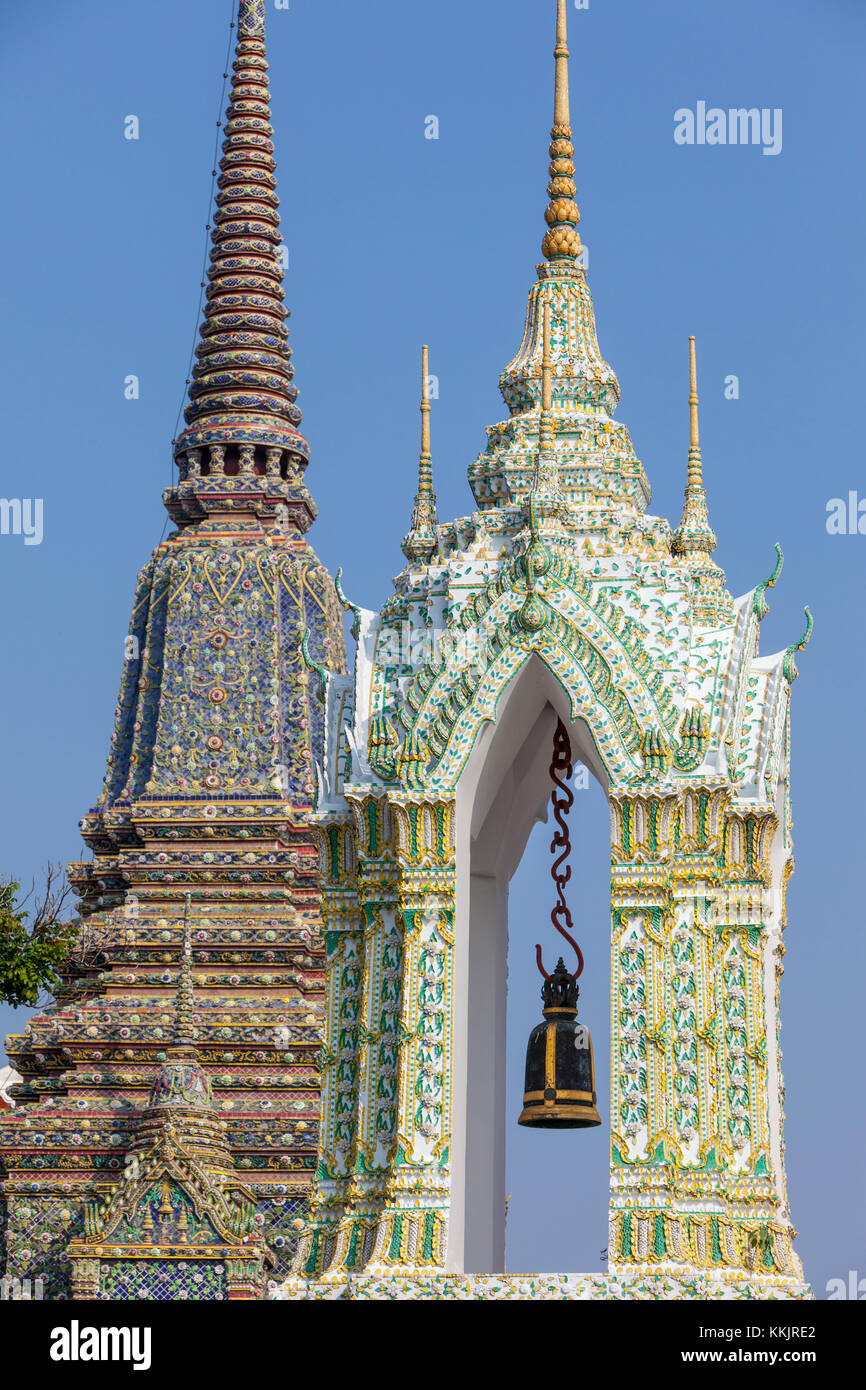 Bangkok, Thailand.  Bell Tower in the Wat Pho Compound, Phra Maha Chedi of King Rama IV in Background. - Stock Image