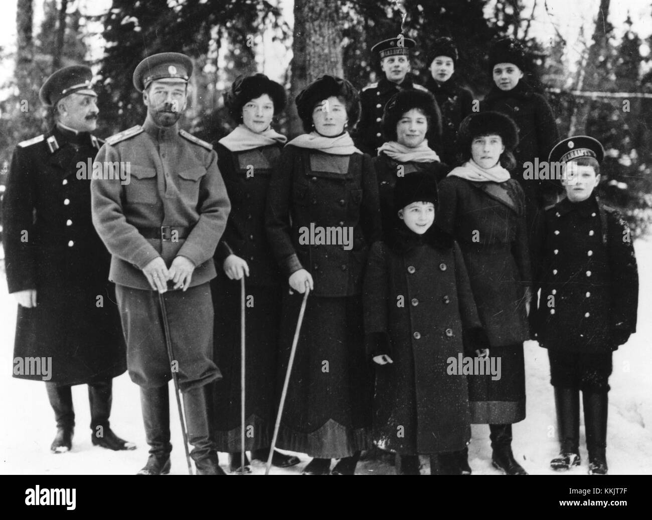 Tsar Nicholas II of Russia with members of his family in the private grounds of Tsarskoe Selo, the summer palace. - Stock Image