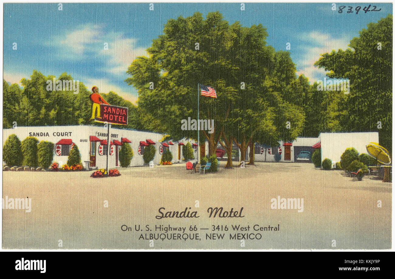 Sandia Motel, on Highway 66 -- 3416 West Central, Albuquerque, New Mexico - Stock Image