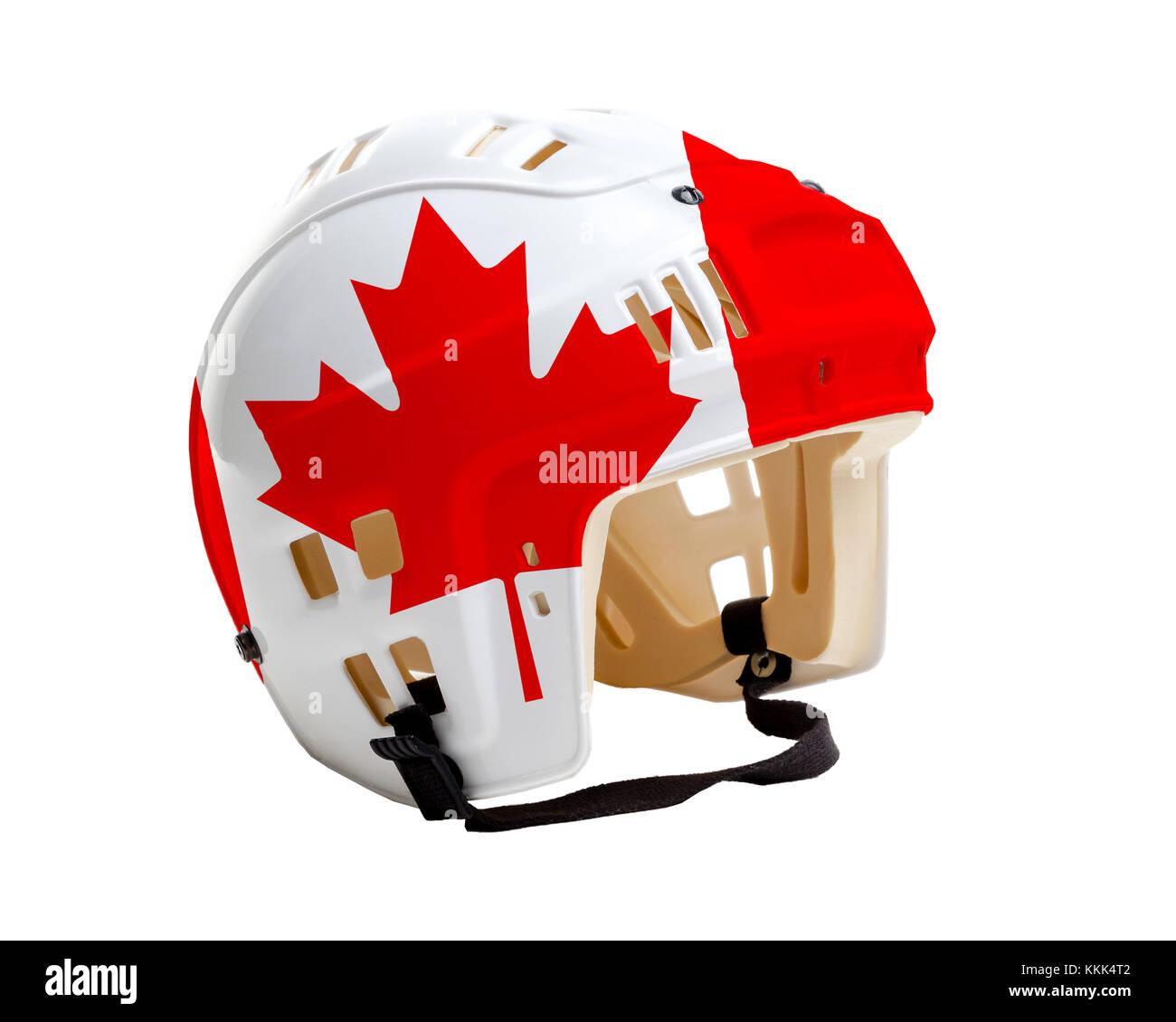 Ice hockey helmet with Canada flag painted on it. Isolated on white background - Stock Image