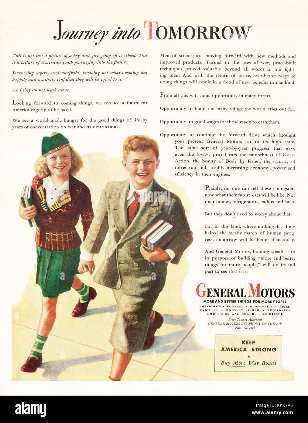 1945 U.S. Magazine General Motors Advert - Stock Image