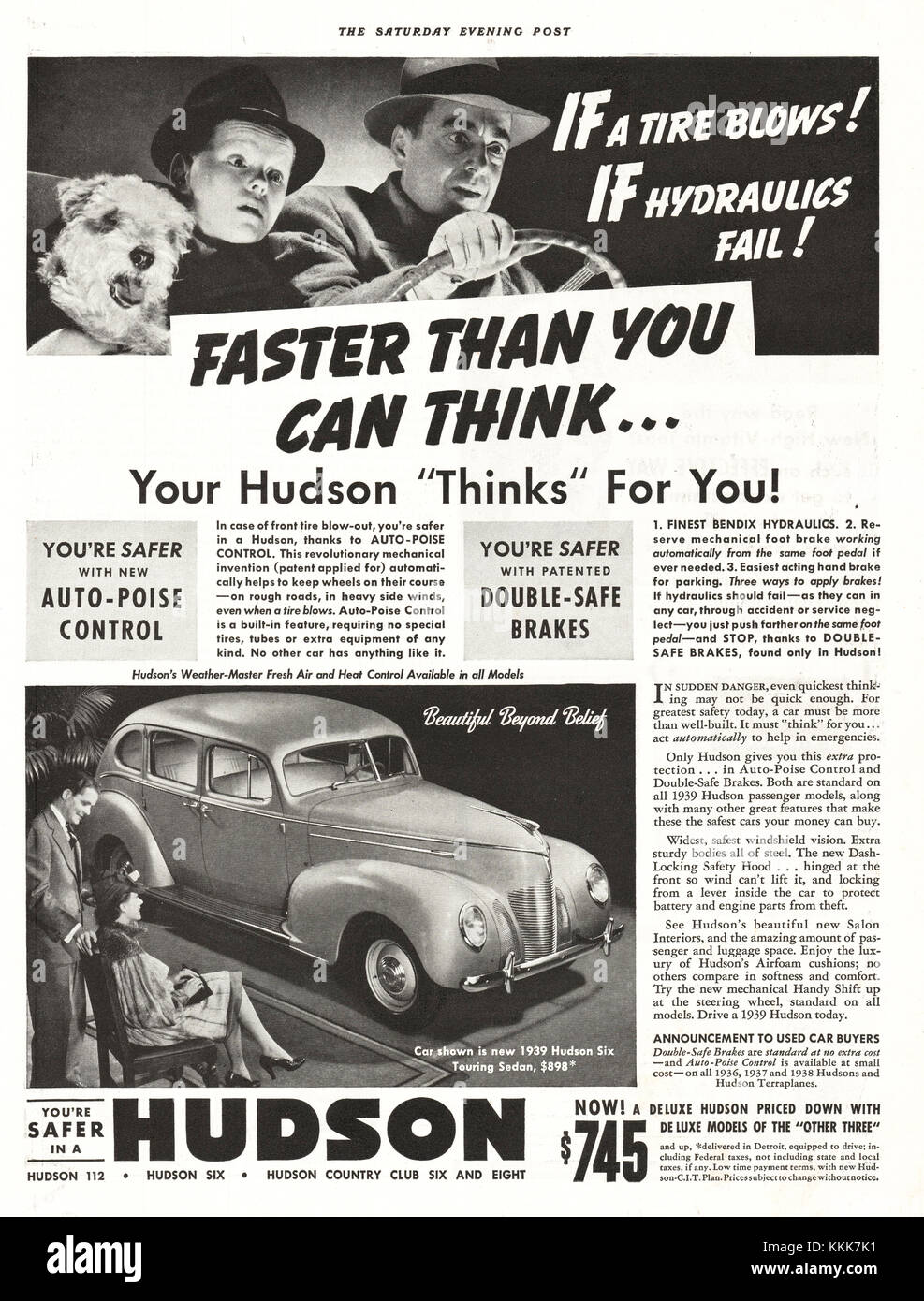 1939 U S  Magazine Hudson Cars Advert Stock Photo: 166994885
