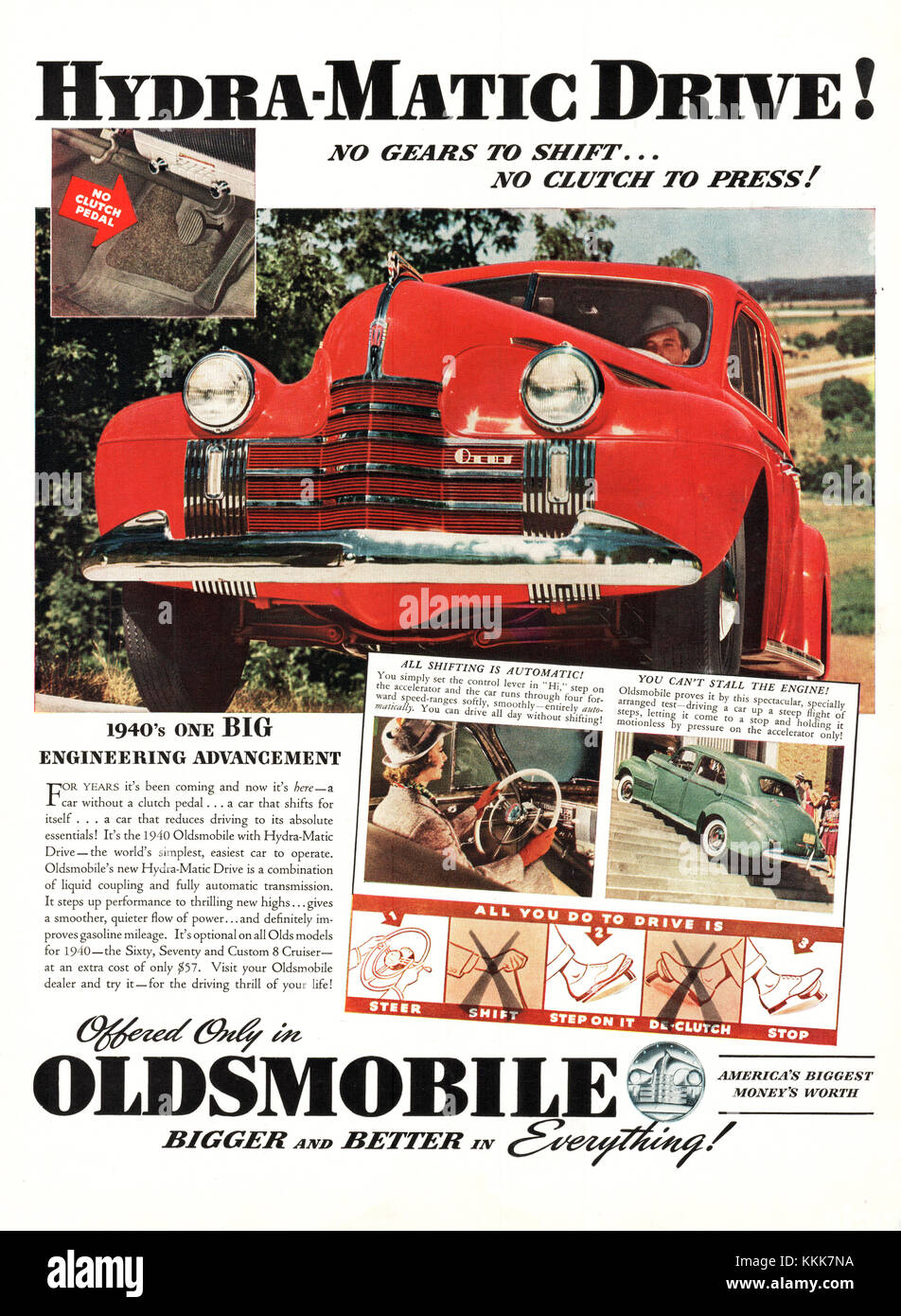 1939 U.S. Magazine Oldsmobile Hydro-Matic Drive Advert - Stock Image