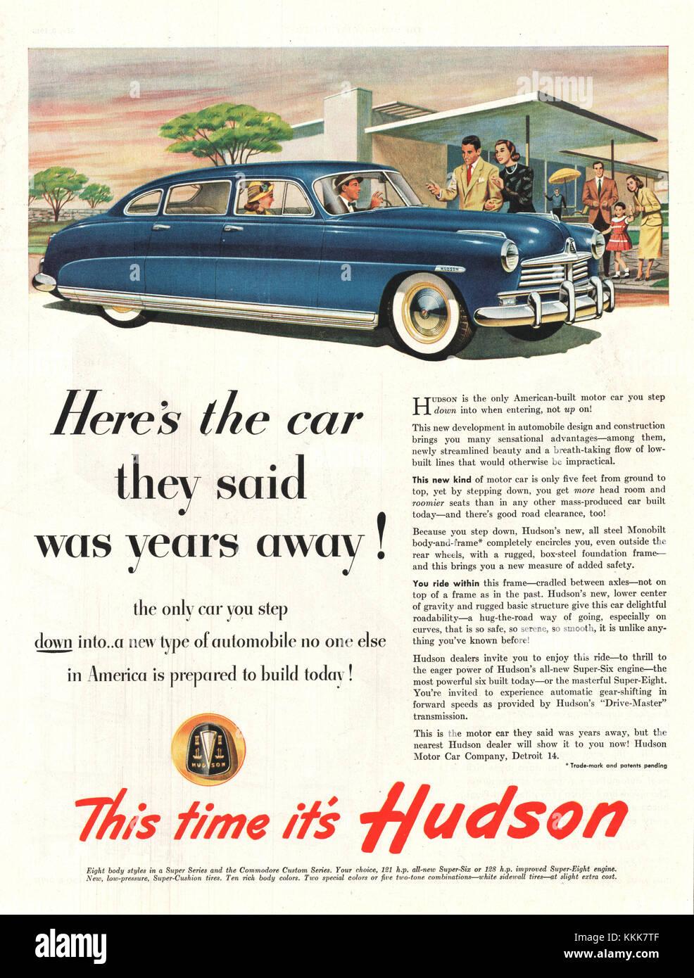 1948 U.S. Magazine Hudson Car Advert - Stock Image