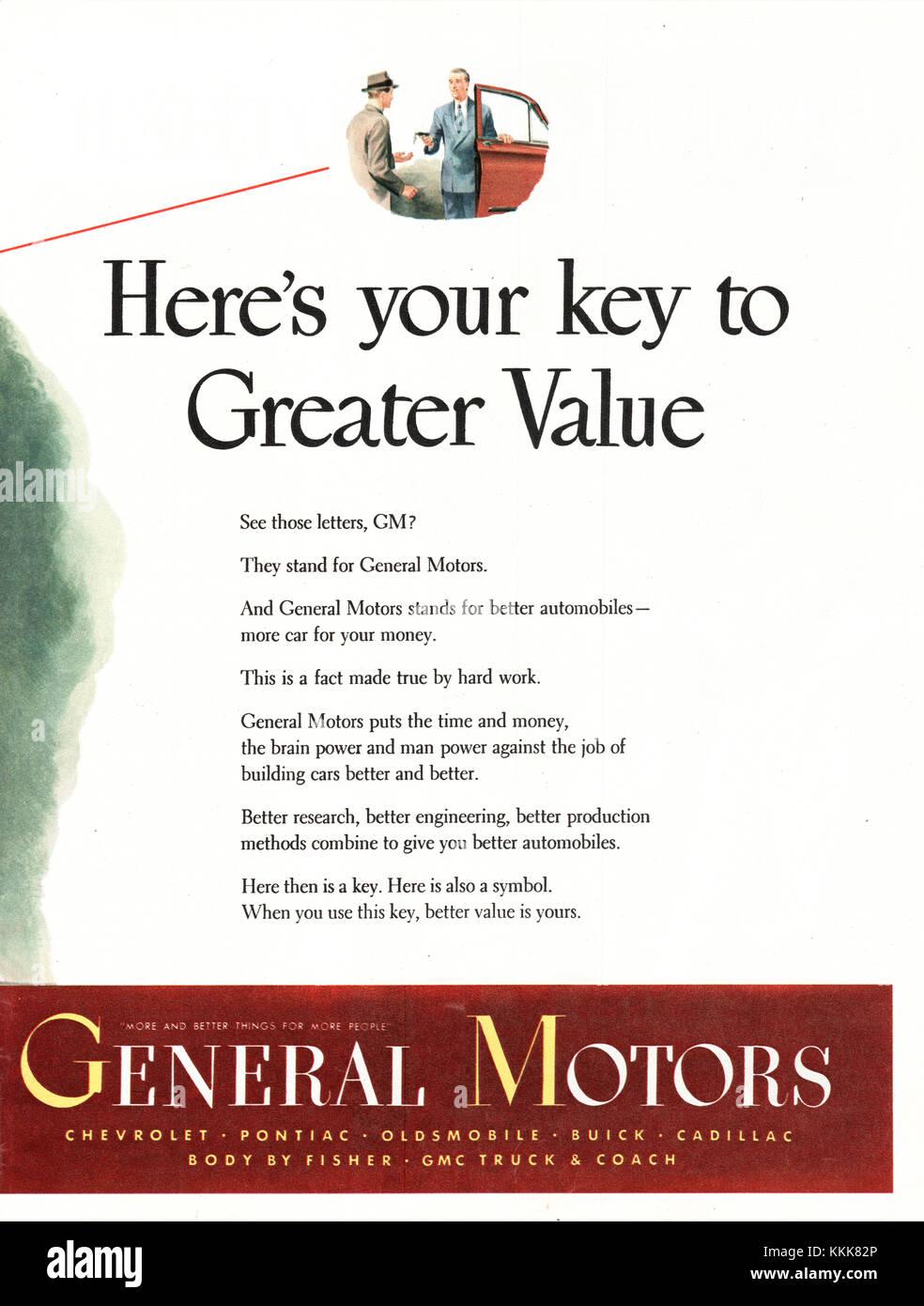 1948 U.S. Magazine General Motors Advert - Stock Image