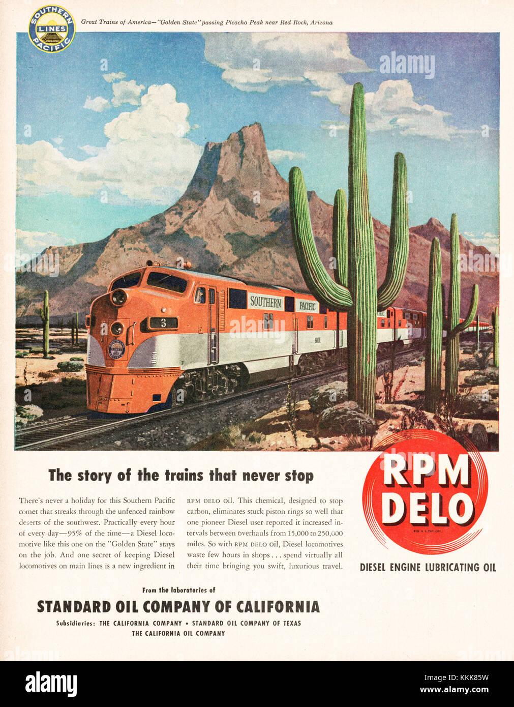 1948 U.S. Magazine RPM Delo Engine Oil Advert - Stock Image