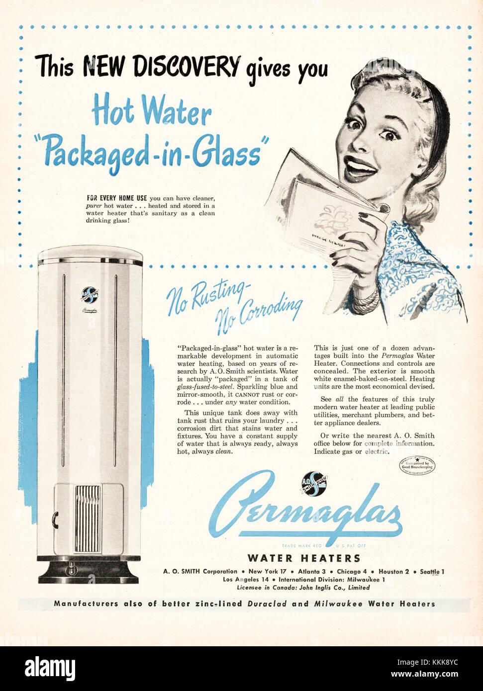 1948 U S  Magazine Permaglas Water Heaters Advert Stock Photo