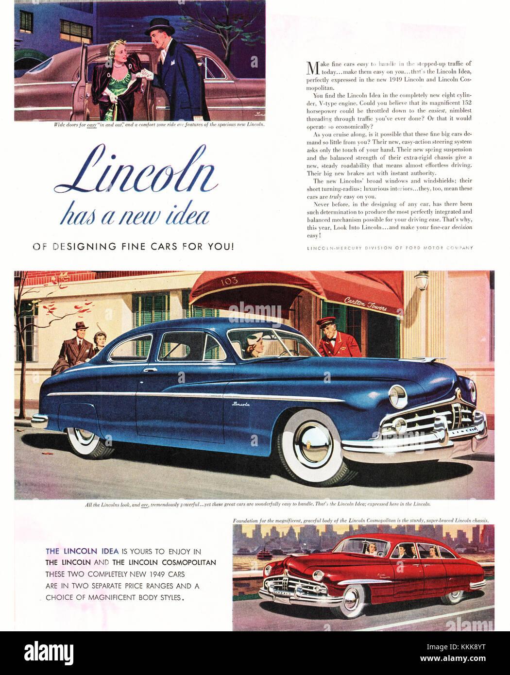 1948 U.S. Magazine Chevrolet Lincoln Car Advert Stock Photo ...