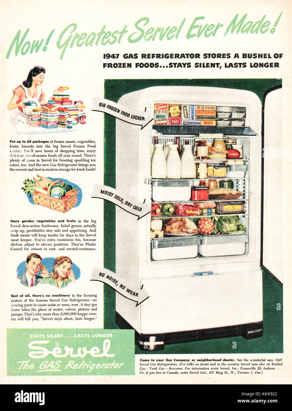1947 U S  Magazine Servel Gas Refrigerator Advert Stock