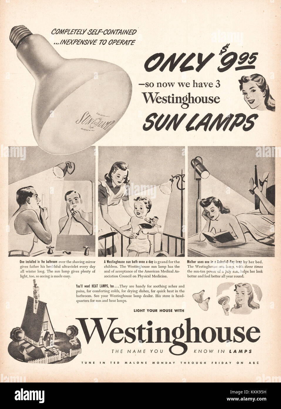 1947 U.S. Magazine Westinghouse Sun Lamps Advert