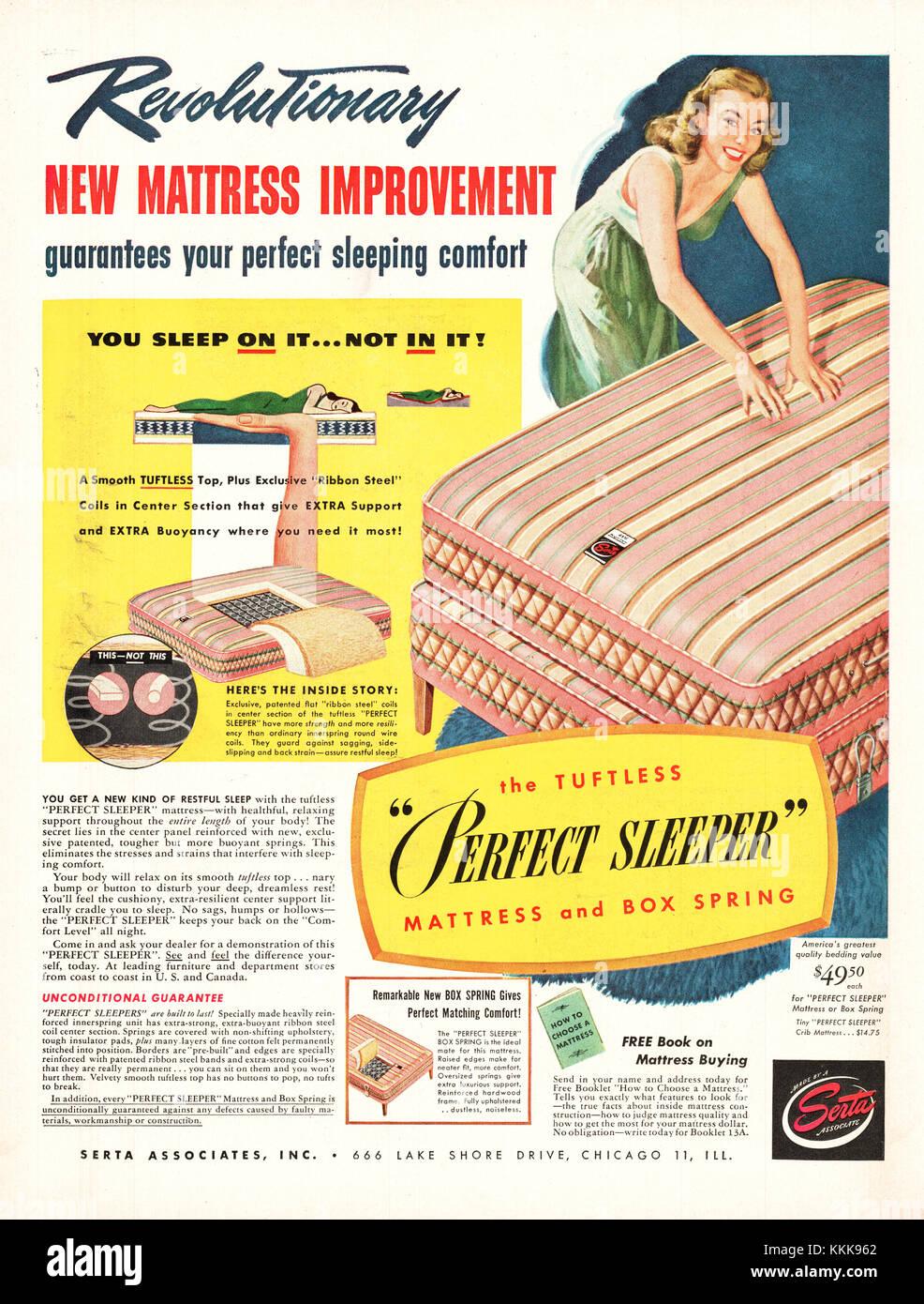 1947 U S  Magazine Serta Mattress Advert Stock Photo