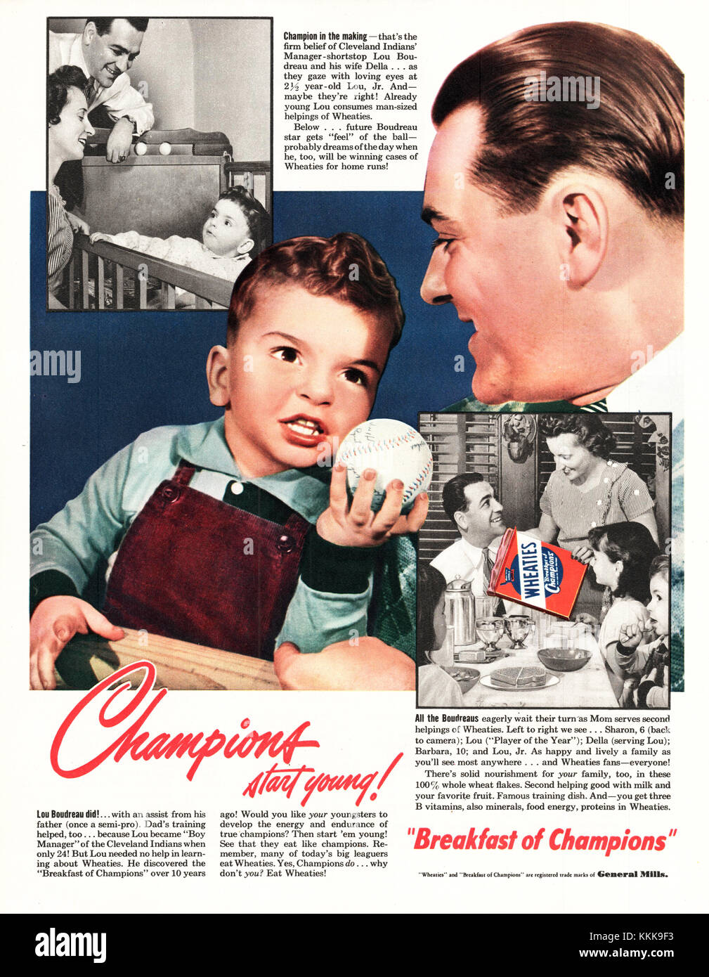 8d34c9685 1949 U.S. Magazine Wheaties Advert Stock Photo: 166996343 - Alamy