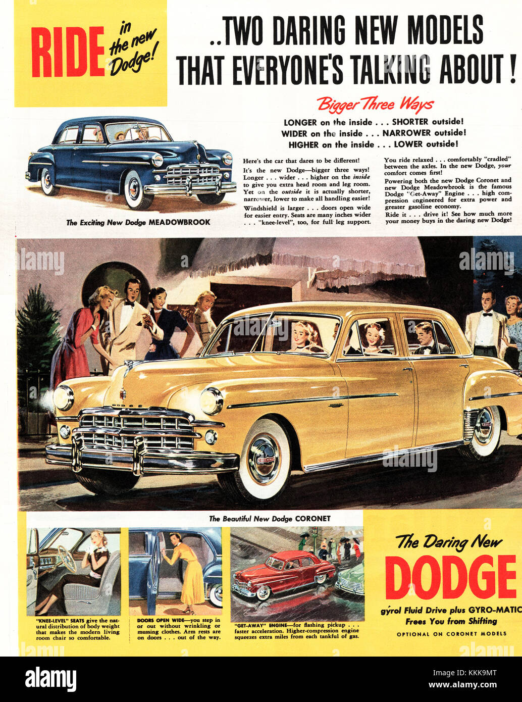 1949 U.S. Magazine Dodge Cars Advert Stock Photo: 166996504 - Alamy
